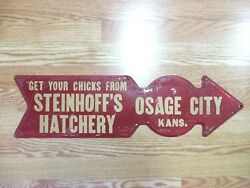 Chicken Farm Sign Get Your Chicks Old Vintage Pointing Arrow 1950s Country Eggs
