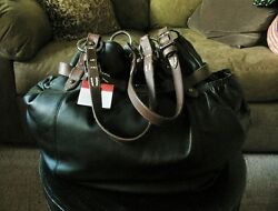 NWT LARGE HOBO INTERNATIONAL BLACK LEATHER PURSE WITH BROWN STRAPS DUSTBAG