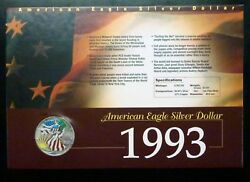 1993 PaintedColorized American Eagle Silver Dollar Collectors Card