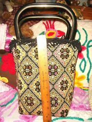 VTG NEEDLEPOINT TAPESTRY CARPET BAG CARPETBAG HANDBAG PURSE HARD BUCKET TOTE BAG