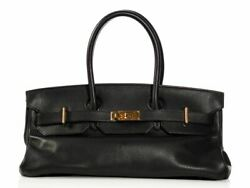 HERMES Black JPG Birkin 42  Bag Purse ~ Clemence leather with some size to it!