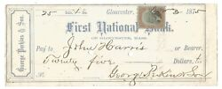 1875 First National Bank Of Gloucester, Ma 25-free Usa Ship-george Perkins