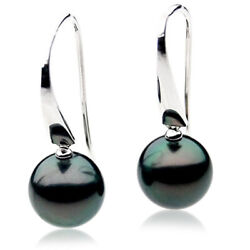 New Pacific Pearls® White Gold Tahitian 14mm Black Pearl Earrings Birthday Gifts