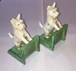 Green West Highland or Scottie Scotty Dog Cast Iron Book Ends