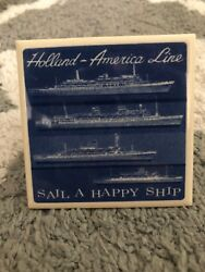 Vintage Holland America Cruise Ship Delft Blue And White Tiles Coaster Ships Line