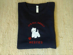 Westie West Highland White Terrier Ladies Navy Blue Tee Westies All About