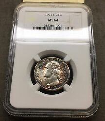 1935-s Washington 25c Ngc Ms64 White Center With Red And Blue Rainbow Toning
