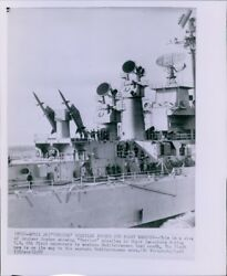 LG453 1950s Wire Photo CRUISER BOSTON Terrier Missiles Launching Position