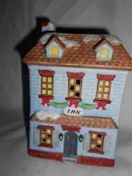 Adorable Blue House To Add To Your Light Up Village.come In,get Warm At The Inn
