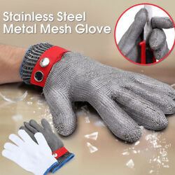 New Grade 5 Safety Cut Proof Stab Resistant Stainless Steel Metal Mesh Glove Us