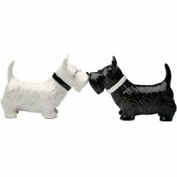 Kissing Black White Scottish Terrier Dog Magnetic Ceramic Salt & Pepper Shakers