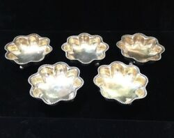 5 Towle Sterling Silver Gold Wash Footed Beaded Nut Individual Dishes