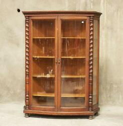 Antique American Oak Curved Glass Front China / Display Cabinet