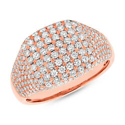 Womens 1.32 Ct 14k Rose Gold Natural Round Cut Pave Diamond Cocktail Square Ring