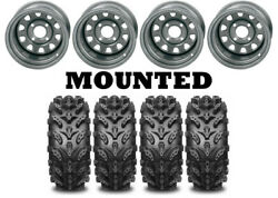 Kit 4 Interco Swamp Lite Tires 27x9-12/27x10-12 On Itp Delta Steel Silver Can