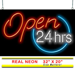 Open 24 Hours Neon Sign | Jantec | 2 Sizes | Business Store All Hours Diner Bar