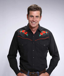 ELY Men#x27;s Long Sleeve Black w Embroidered Red Roses Western Shirt $35.19
