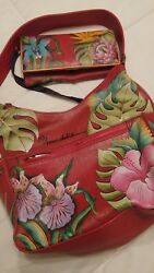 NEW!! Anuschka Leather Island Escape Hobo Purse wSide Pocket & Matching Wallet