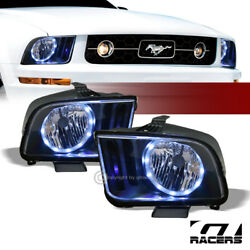 For 2005-2009 Ford Mustang Black Housing Drl Led Halo Ring Headlights Lamps Nb