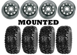Kit 4 Sedona Rip Saw Tires 25x8-12/25x10-12 On Itp Delta Steel Silver Wheels Can