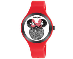 Disney Ampm Minnie Mouse Womenand039s Watch Red Silicone Strap Dp155-u534