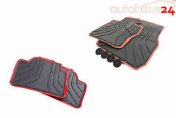 Bmw 3 Series F30 Rubber All Weather Floor Mats Front And Rear Black/red Sport Awd