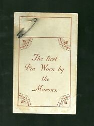 The First Pin Worn By The Masons Pre 1910 Unused Post Card