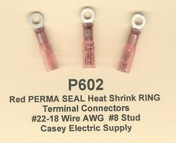 100 Red Perma Seal Heat Shrink Ring Terminal Connectors 22-18 Wire Gauge 8 Std