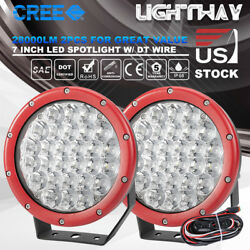 2X 7 inch LED Spot Driving Light Round Spotlights Offroad  w DT Wiring Kit