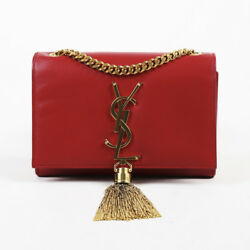 Saint Laurent Red Leather Chain Monogram Small