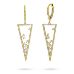 14k Yellow Gold Natural Baguette Round Cut Floating Diamond Triangle Earrings