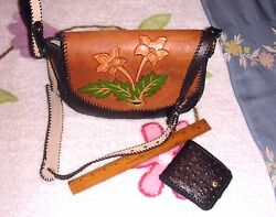 VTG TOOLED HAND PAINTED OOAK LEATHER FLORAL CROSS BODY SATCHEL PURSE WALLET SET