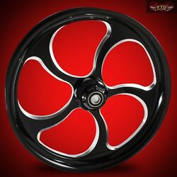 2008-2020 Harley Black Contrast 23 Inch Front Wheel And Floating Rotors Maze