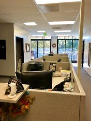 Kimball Cubicle Dividers With 8 Filing Cabinets Included. Light Gray In Color.