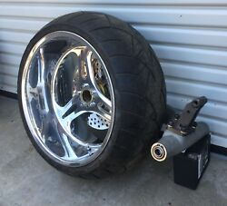 SINGLE SIDED 280 TIRE SWINGARM & WHEEL PULLEY ROTOR FOR HARLEY CUSTOM
