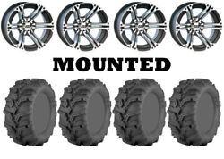 Kit 4 Itp Mud Lite Xtr Tires 27x9-12 On Itp Ss212 Machined Wheels Ter