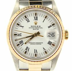 Rolex Date 15223 Mens 18k Gold And Stainless Steel Watch Oyster Band Roman Dial