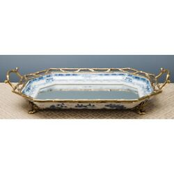 Blue And White Chinese Oriental Porcelain Mirrored Glass And Bronze Tray