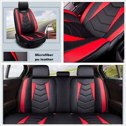 Set Luxury Breathable PU Leather Full Surround Car SUV Seats Cushions Black+Red