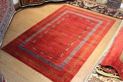 Top Quality Handmade Persian Gabbeh Design 6' x 9' Vegetable dyed red