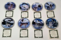 Wolf Eagle Bradford Masters of the Land and Sky 8 collector plate set COAs Boxes