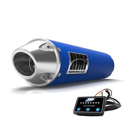 Hmf Performance Slip On Exhaust Blue Polished End Cap Efi Optimizer Grizzly 700