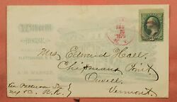 1879 Witherill House Hotel Allover Advertising Plattsburgh Ny Pink Cancel
