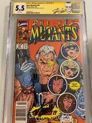 The New Mutants 87 Cgc 5.5 Ss Stan Lee And Rob Liefeld Signed 1st App Cable