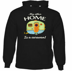 My Other Home Is A Caravan Mens Funny Caravanning Hoodie Camping Awning Rally
