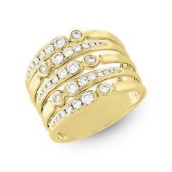 Womens 0.75 Ct 14k Yellow Gold Round Diamond Wide Cocktail Multi Row Band Ring