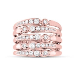 Womens 0.75 Ct 14k Rose Gold Round Diamond Wide Cocktail Multi Row Band Ring