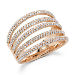 Womens 14k Rose Gold Diamond Pave Ring Multi Band Open Cocktail Dome Right Hand