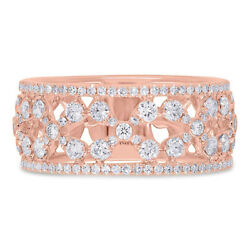 14k Rose Gold Round Pave Diamond Cocktail Open Floral Ring 9.0 Mm Band 0.92ct
