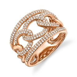 Diamond Link Ring 14k Rose Gold Braid Womens Cocktail 0.60ct Round Natural Pave